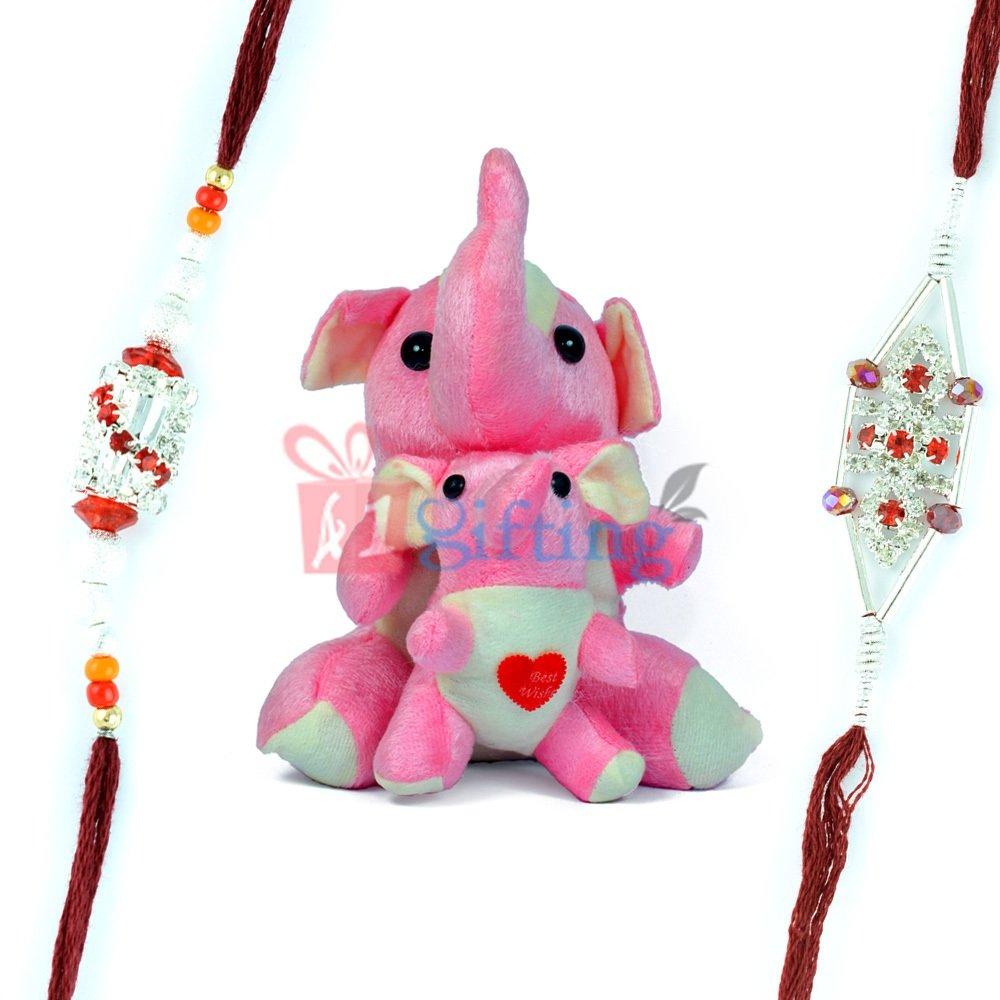 Twin Elephant Stuffed Toy for Kids and 2 Designer Rakhi