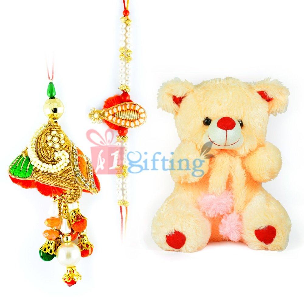 Stuffed Cutty Girl Teddy Bear and Pearl Bhaiya Bhabhi Rakhis