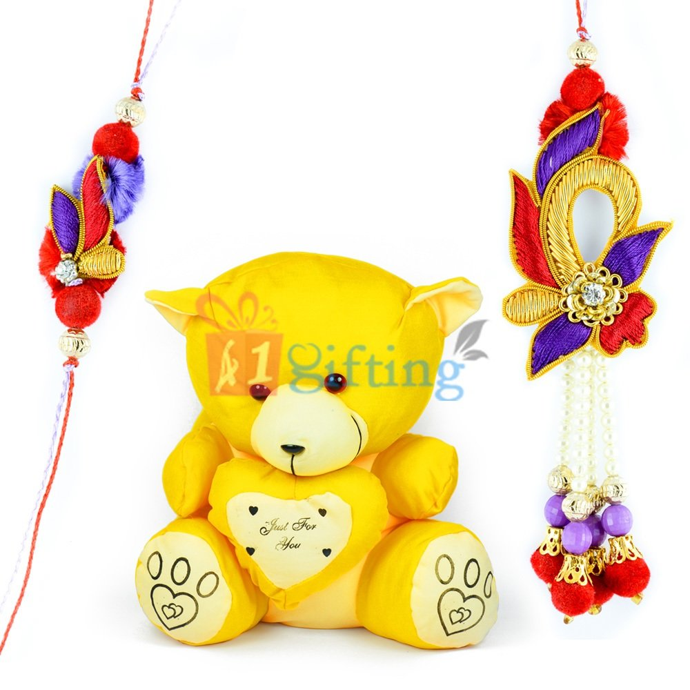 Little Yellow Heart Teddy Bear Kid Toy n Zardosi Bhaiya Bhabhi Rakhis