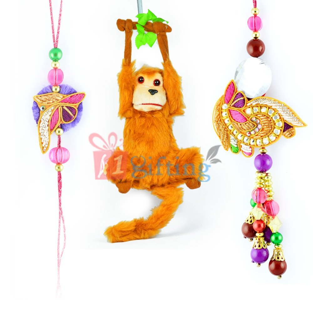 Hanging Money Stuffed Toy and Beads Zardosi Bhaiya Bhabhi Rakhi
