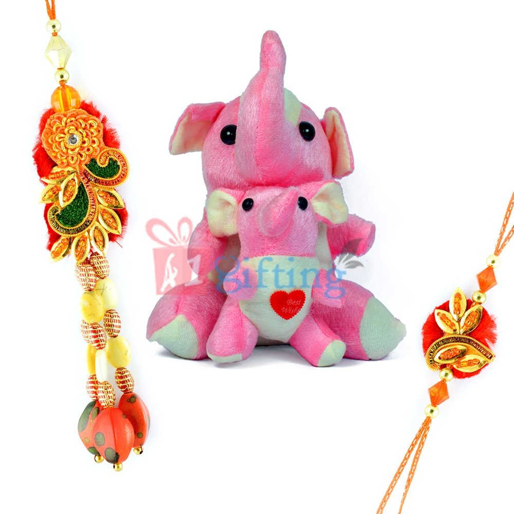 Twin Elephant Stuffed Toy for Kids n Zardosi Beads Bhaiya Bhabhi Rakhi
