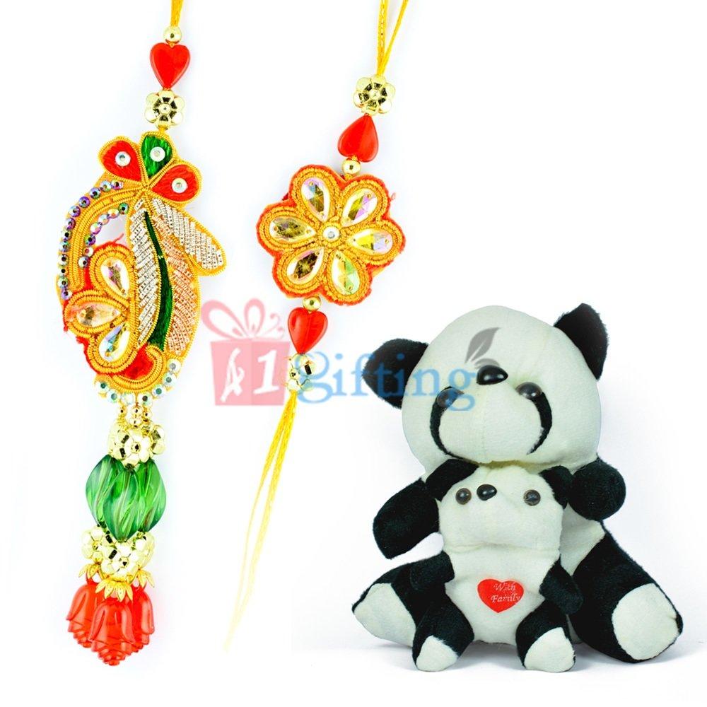 Black-White Stuffed Puppy Pair n Zardosi Beads Royal Bhaiya Bhabhi Rakhi