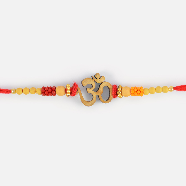 Elegant and Exclusive Beads Om Rakhi for Bhaiya