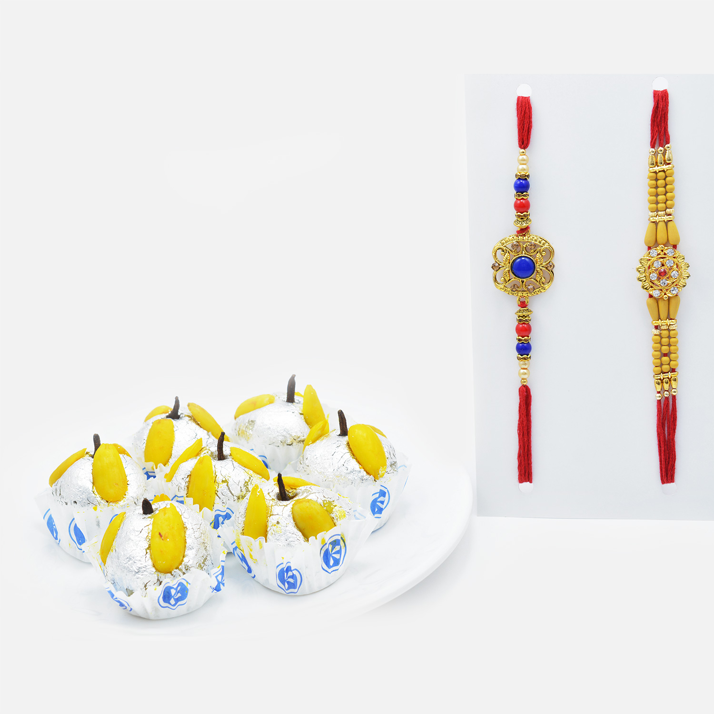 Blue Beads and Sandalwood Rakhi Set of 2 with Savory Kaju Badam Laddu