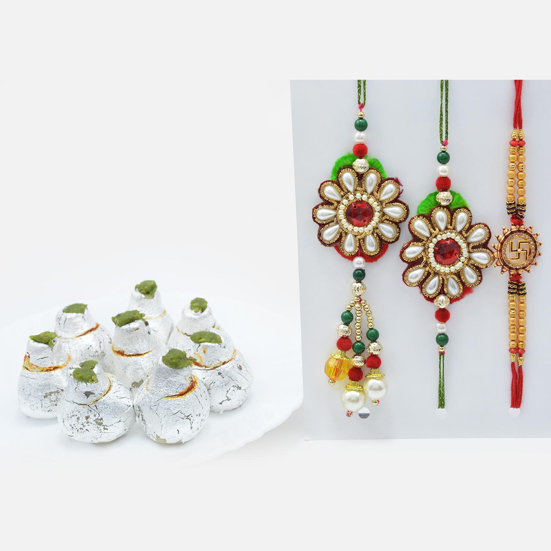 Beads and Pearls Rakhi Set for Bhaiya-Bhabhi and Swastik Rakhi with Divine Kaju Kalash