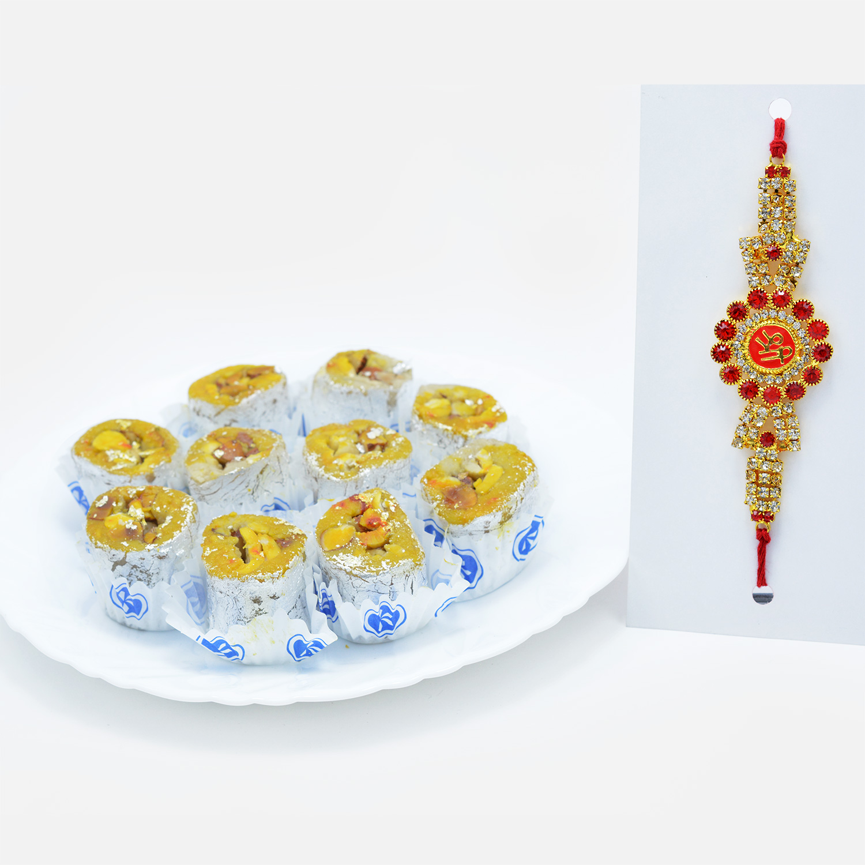 Diamonds Everywhere Shree Rakhi with Divine Kaju Honey Dew