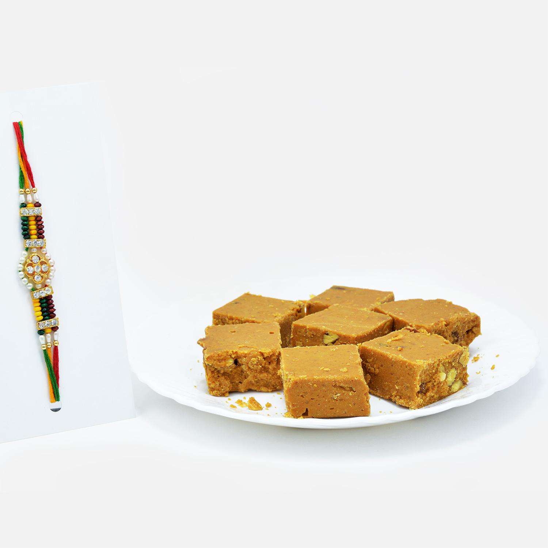Colourful Beads Rakhi with Tasty Besan Badam Chakki