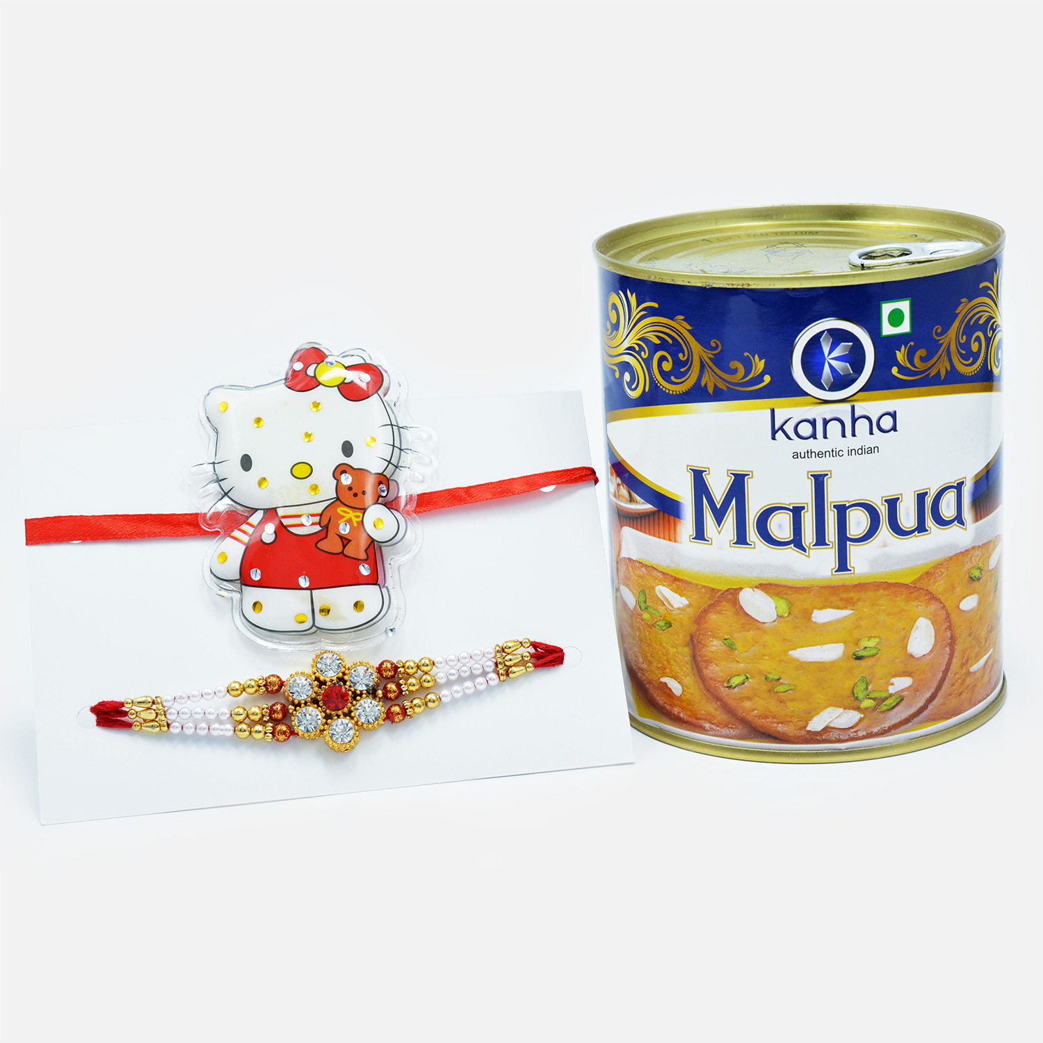 Hello Kitty Rakhi for Kids and Floral Rakhi For Bhaiya with Tempting Kanha Malpua