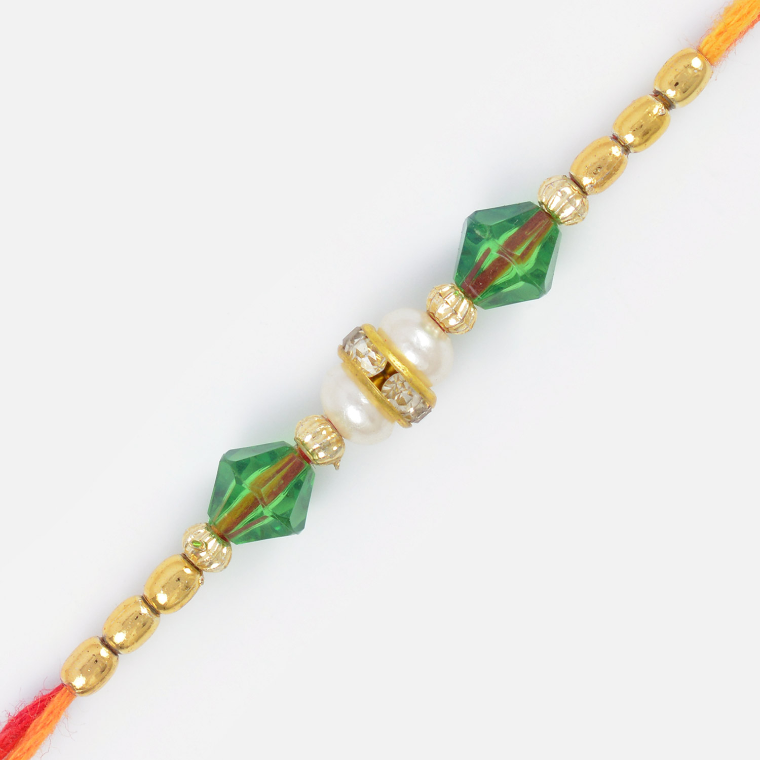 Awesome Beads and Dual Half Pearl Brother Rakhi