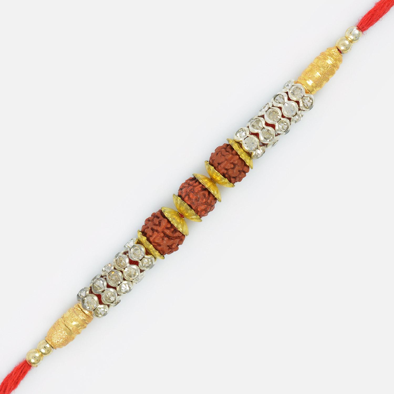 Awesome Designer Beads Golden Polki Triple Rudraksh Rakhi Thread