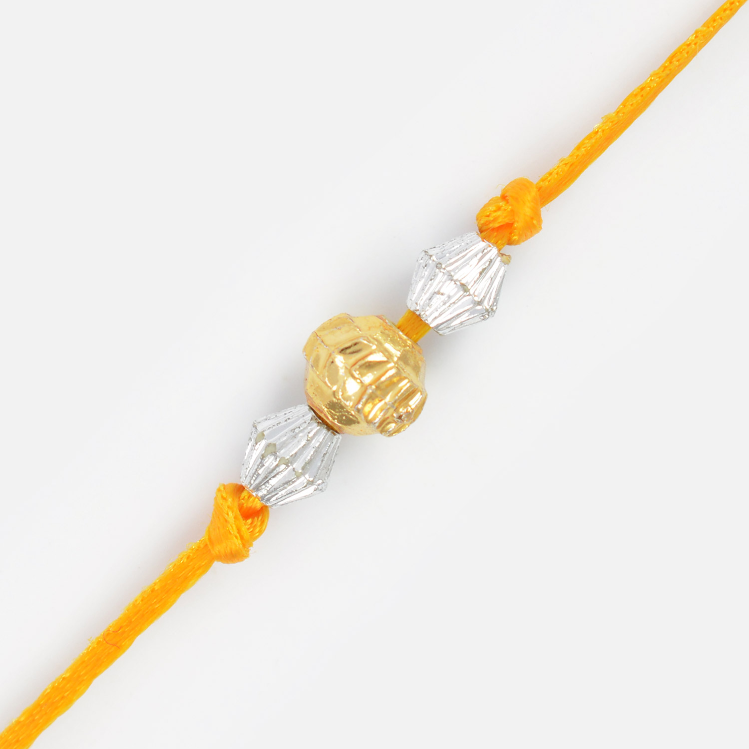 Central Golden with Two Silver Beads Thread Rakhi for Brother