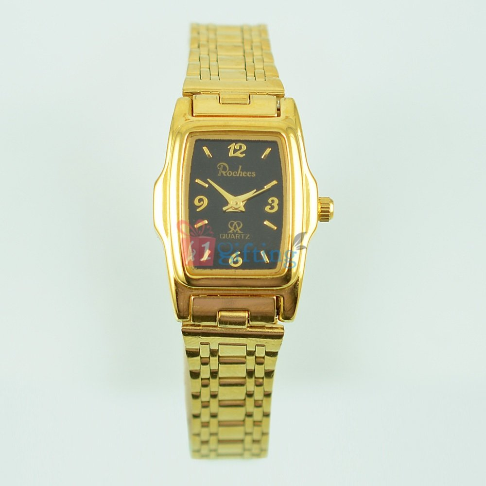 Fancy Square Golden Watch for Women Metal Band