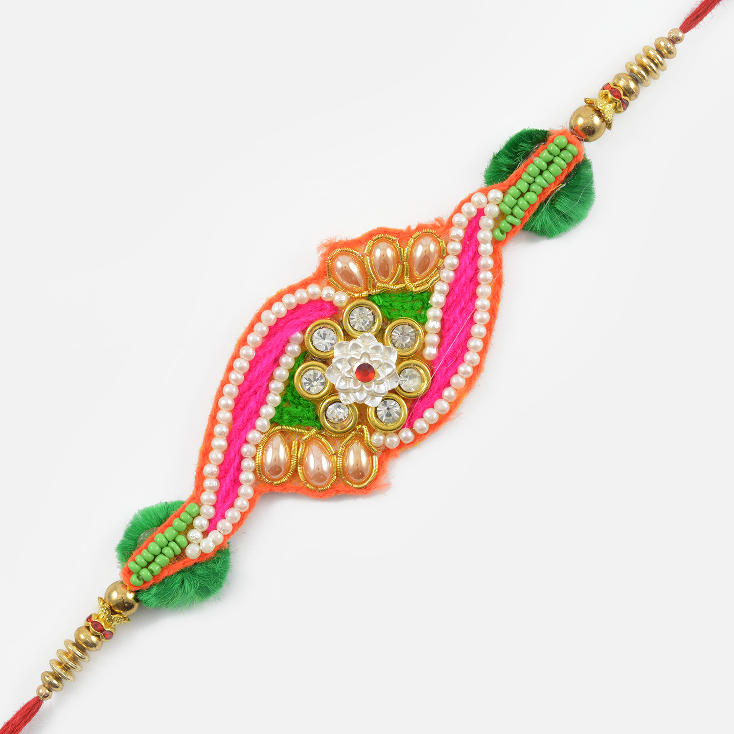 Colourful Pearls and Floral Zardozi Rakhi