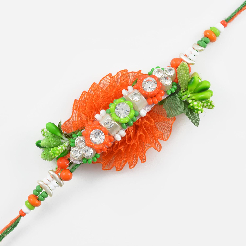 Orange and Green Floral Zardozi Rakhi
