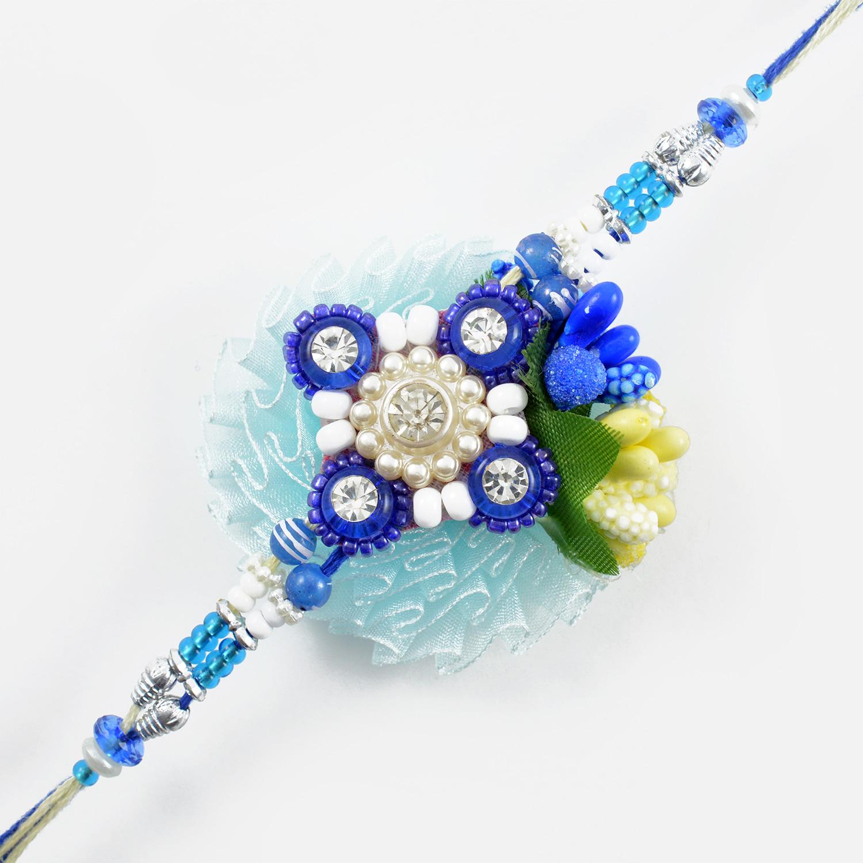Blue Beads and Sapphire Zardozi Rakhi