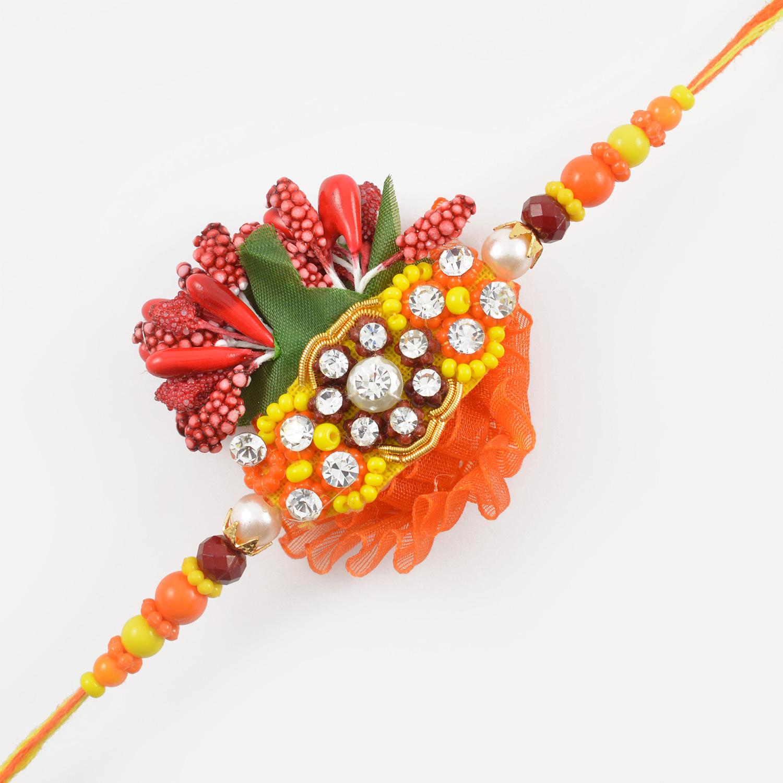 Diamonds and Beads Floral Zardozi Rakhi