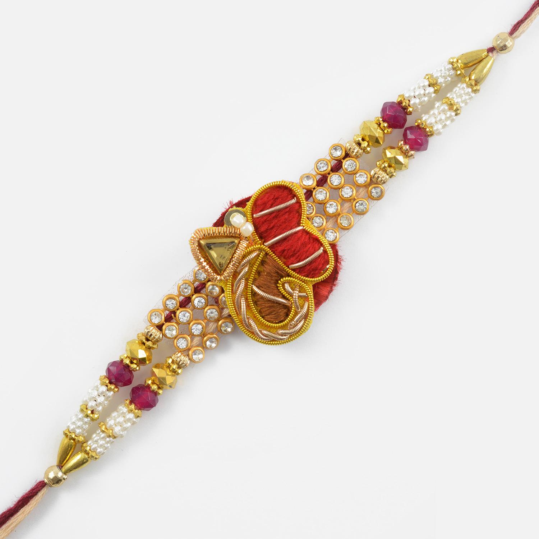 Attractive Diamond Studded Zardozi Rakhi