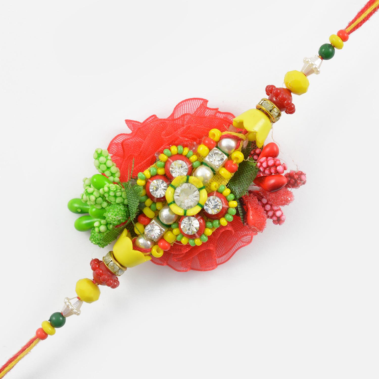 Designer Floral and Beads Zardozi Rakhi