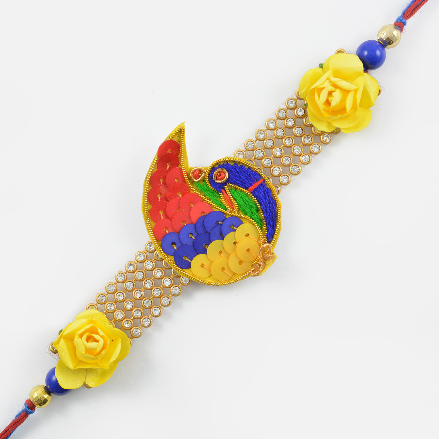 Exquisite Maurya and Floral Zardozi Rakhi