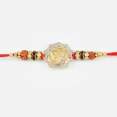 Divine OM Rudraksh Diamond Golden Beads Rakhi for Brother