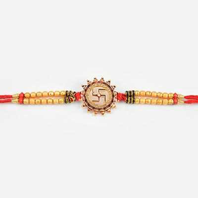 Antique Looking Golden Beaded Swastik Diamond Rakhi