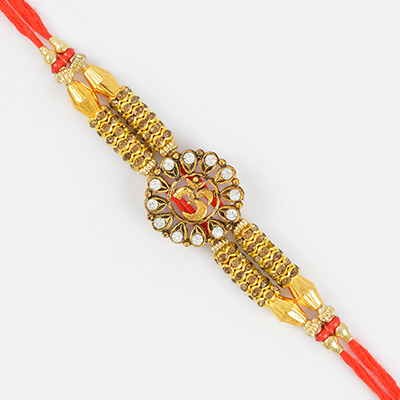 Golden OM with Sparkling Diamonds Mauli Rakhi