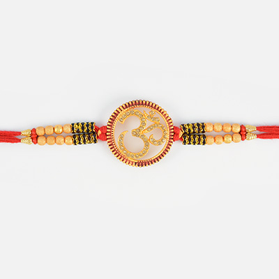 Golden Graceful Auspicious OM Designer Traditional Rakhi