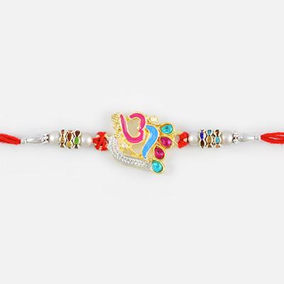 Auspicious OM Rakhi with Multicolor Studded Diamonds