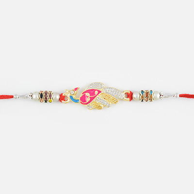 Beautiful Multicolor Peacock Rakhi with Silver Beads