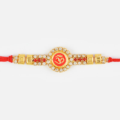 Floral Shape Om Rakhi with Golden Work and Silver Diamonds