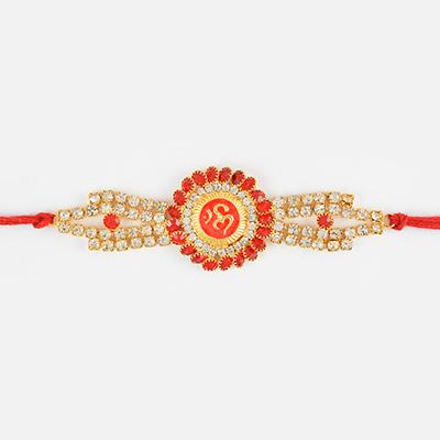 Marvellous Diamond Om Rakhi with Diamond Work