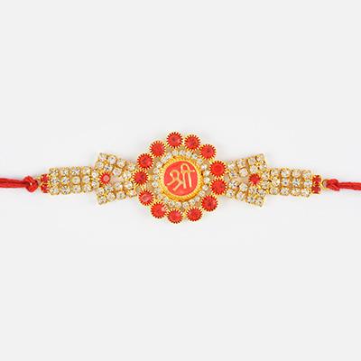 Floral Shape Shri Rakhi with Different Diamond Work