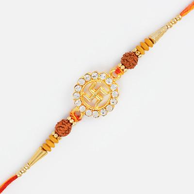 Golden Swastik Rudraksh Rakhi