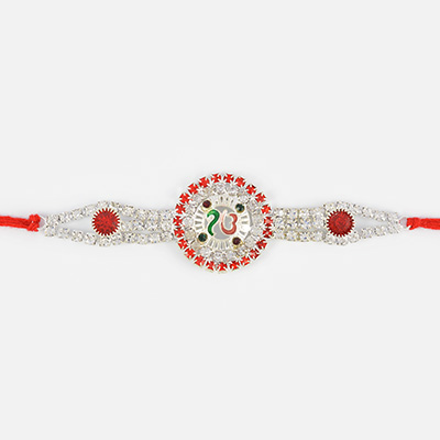 Floral Shape Onkar Rakhi with Different Diamond Work