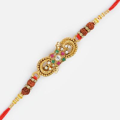 Diamond and Jewel Floral Beautiful Rudraksh Rakhi