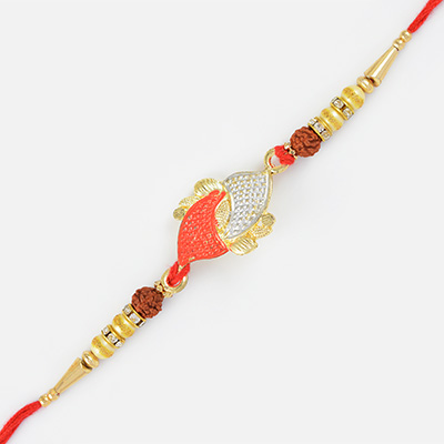 Stylish Golden Work Rudraksh Special Mauli Rakhi