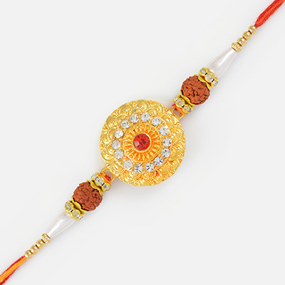 Heavy Work Floral Shape Rudraksh Rakhi with Central Studded Diamond