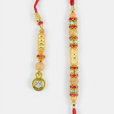 Golden Diamond Design Bhaiya and Bhabhi Rakhi