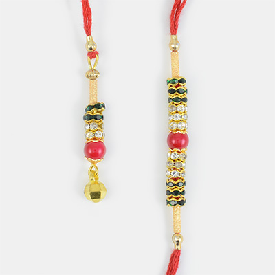 Stunning Red Bead Golden Diamonds Base Bhaiya Bhabhi Rakhi