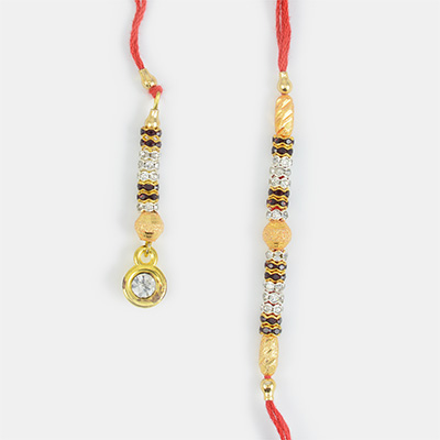 Droping Golden Base Diamond with Beads Set of Rakhi