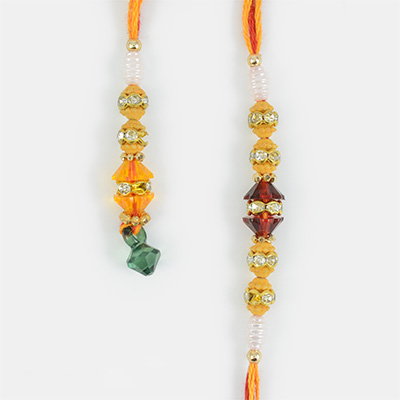 Exclusive Multi-Color Beads and White Diamonds Rakhi