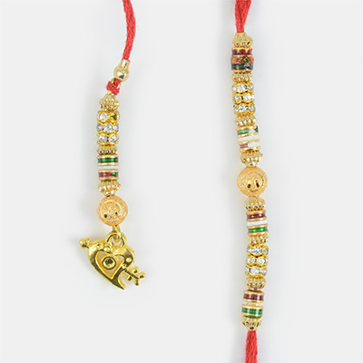 Droping Golden Heart and Beads Rakhi for Bhaiya and Bhabhi
