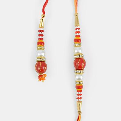 Beautiful Red Bead Droping with Pearl Rakhi Set