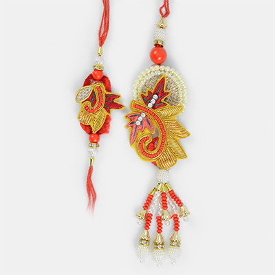 Exclusive Mauli Grace- Bhaiya Bhabhi Rakhi Set of Zari and Pearl