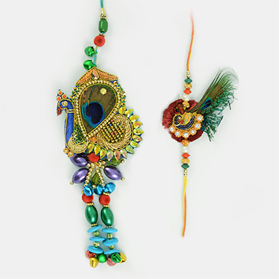 Energetic Peacock Designer Bhabhi and Brother Rakhi Combo
