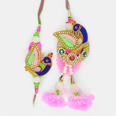 Beautiful Peacock Jewel Floral Pair Rakhi