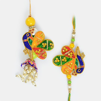 Traditional Zari Pearl Peacock Pair Rakhi