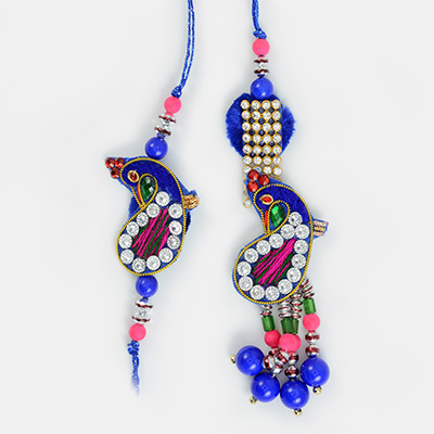 Peacock Theme Pearl Pair Rakhi for Bhaiya Bhabhi