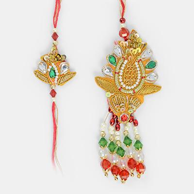 Zari Pearl and Kundan Work Bhaiya Bhabhi ki Rakhi