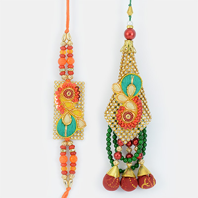 Golden Chunri Zardosi Work Rakhi Set for Bhai and Bhabhi